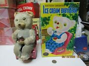 Ice Cream Baby Bear Battery Operated Tin Toy Japan Works 50s-60s Replica Box