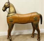 Rare Antique Hand Carved Wood Large Horse Statue Brass Head Tail And Trim Gorgeous