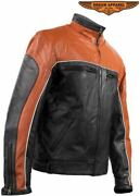 Mens Leather Orange And Black Racer Jacket With Zip Out Lining Reflect Piping