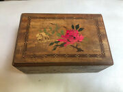 Antique Japanese Wooden Puzzle Box Beautiful Inlay