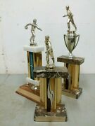 3 Vintage 1968-71 Goodyear Company Champion Bowling Trophies Windsor Vermont