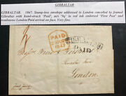 1847 Gibraltar Letter Sheet Cover To London England Wax Seal Stampless