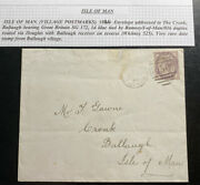 1884 Ramsey Isle Of Man England Cover To Ballaugh Very Rare Date Stamp