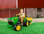 Electric Cars For Kids To Ride On John Deere Tractor Battery Power Trailer Boys