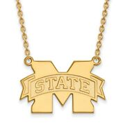 14k Yellow Gold Mississippi State Bulldogs M-state Logo Charm Pendant Necklace