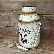 Farmhouse Style Metal Milk Can Jug W/ Handle Country Distressed Rustic