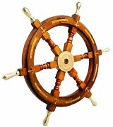 Nautical Brass Anchor 24 Antique Wooden Shipand039s Wheel Boat Steering Wall Decor