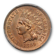 1869 1c Indian Head Cent Pcgs Ms 65 Rb Uncirculated Red Brown Cac Approved Sh...