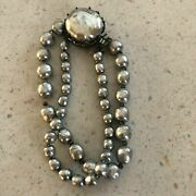 Antique Vintage Miriam Haskell Baroque Pearl Bracelet Signed Silver Costume Old