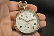 Omega Cal.38.5l.t1british Military Pocket Watch Manual Wind 15jewels 51mm 1940and039s