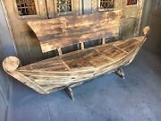 Incredible Carved Wooden Boat Bench Ship Sail Unique Rustic Lake House Cabin