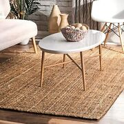 Nuloom Ashli Handwoven Solid Jute Rug 8and039 6 X 11and039 6 Natural