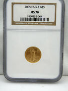 2005 1/10 Oz 5 American Gold Eagle Ms70 By Ngc