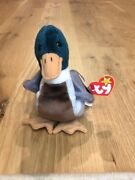 Rare Errors Retired Ty Beanie Jake The Duck1997/1998 Tag Error / Red Stamp