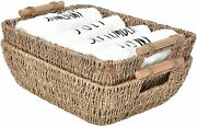 Storageworks Hand-woven Large Storage Baskets With Wooden Handles, Seagrass Wick