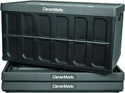 Clevermade 62l Collapsible Storage Bins With Lids - Folding Plastic Stackable Ut