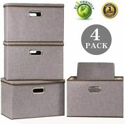 Large Foldable Storage Bin With Lid [4-pack] Linen Fabric Decorative Storage Box