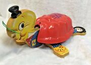 Vintage 1956 Fisher Price Timmy Turtle Musical Wooden Pull Toy Red Shell 125