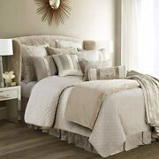 Hiend Accents Fairfield 4-pc Quilted Linen And Velvet Coverlet Set, Super King, Cr