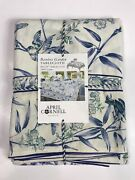 New April Cornell Blue Floral Birds Bamboo Garden Tablecloth 60x120 In