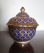 Thai Porcelain Benjarong Pottery Gold Leaf And Handpainted Decorative Pot W A Lid