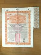 👍 China Government 1898 Andpound50 Gold Loan Bond With Coupons - Uncancelled No Holes
