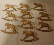 Lot Of 10 Vintage Brass Rocking Horse Ornaments Course Hair Tail Christmas Tree