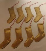 Lot Of 8 Vintage Brass Gold Christmas Stocking Tree Dept. 56 Holiday Ornaments