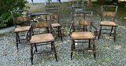 Set Of 6 Vintage Antique Country Paint Decorated Dining Chairs