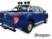 To Fit 12 - 16 Ford Ranger 4x4 Stainless Steel Sport Roll Bar + Spot Lights X4