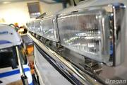 To Fit Scania 4 Series Low / Day Cab Stainless Roof Light Bar + Rectangle Spots