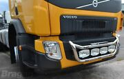To Fit Volvo Fe 2013+ Stainless Steel Front Truck Grill Light Bar C + Step Pads