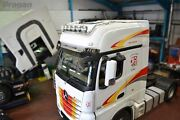To Fit 19+ Mercedes Actros Mp5 Gigaspace Truck Stainless Roof Bar B + Spot + Led