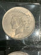 5 Au/bu Silver Peace Dollars 90 Silver Mixed Dates From Old Estate Collection