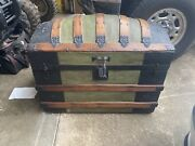 Large Antique Victorian Dome Top Camelback Wood And Metal Chest Steamer Trunk