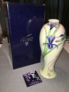 Franz Porcelain Collection Fz00127 Long Tail Hummingbird 14 Vase Mint In Box