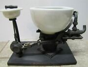 Ws Carr Ny Antique Dental Spittoon Early Plumbing Porcelain Cast Iron Salesman
