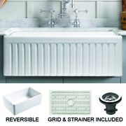 Empire Sutton Place Farmhouse Fireclay 33-inch Single Bowl Kitchen Sink In White