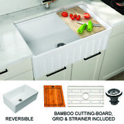 Empire Yorkshire Farmhouse Fireclay 33-inch Single Bowl Kitchen Sink In White Wi