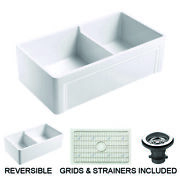 Empire Olde London Farmhouse Fireclay 33-inch Double Bowl Kitchen Sink In White