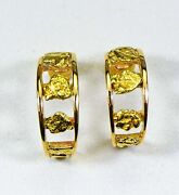 Gold Nugget Earrings Orocal Eh20 Genuine Hand Crafted Jewelry - 14k Gold Casti