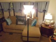 Vintage 30s-40s Floor Lamp With Milk Glass Globe 3 Sidelights And Base Light