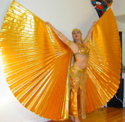 Renaissance Gold Tissue Lame Isis Wings, Wingsofayshe, 56, Bellydance Costume
