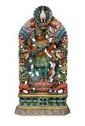 Vintage Handcrafted Saraswati Statue South Indian Temple Wood Carving Home Decor