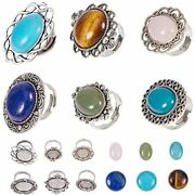 Sunnyclue 6pcs Antique Silver Adjustable Blank Flower Cabochon Ring Settings For