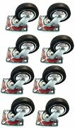 8 Pack 3 Swivel Caster Wheels Rubber Base With Top Plate And Bearing Heavy Duty