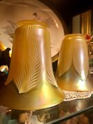 Signed Quezal Pair Of Lovely Iridescent Art Glass Shade