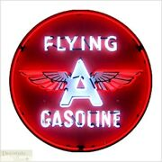 Flying A Gasoline Neon Sign 36 Wall Window Steel Can Housing Usa Warranty New