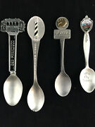 Lot Of 4 Pewter Souvenir Collectible Spoons