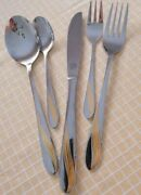 90and039s Retro Sbs Rostfrei Edelstahl 18/10 Gold Plated Leaf 60 Pieces Cutlery Set